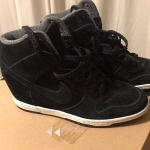 Black suede Nike wedge sneakers